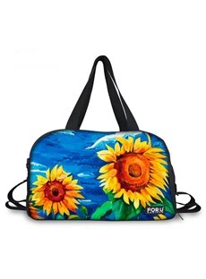 Oil Painting Style Sunflower Pattern 3D Painted Travel Bag
