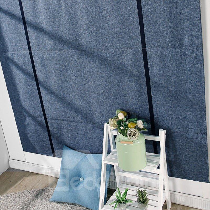Contemporary Dark Blue Cotton and Linen Blending Flat-Shaped Roman Shades