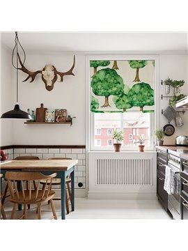 Watercolor Tree Printing Flat-Shaped Roman Shades