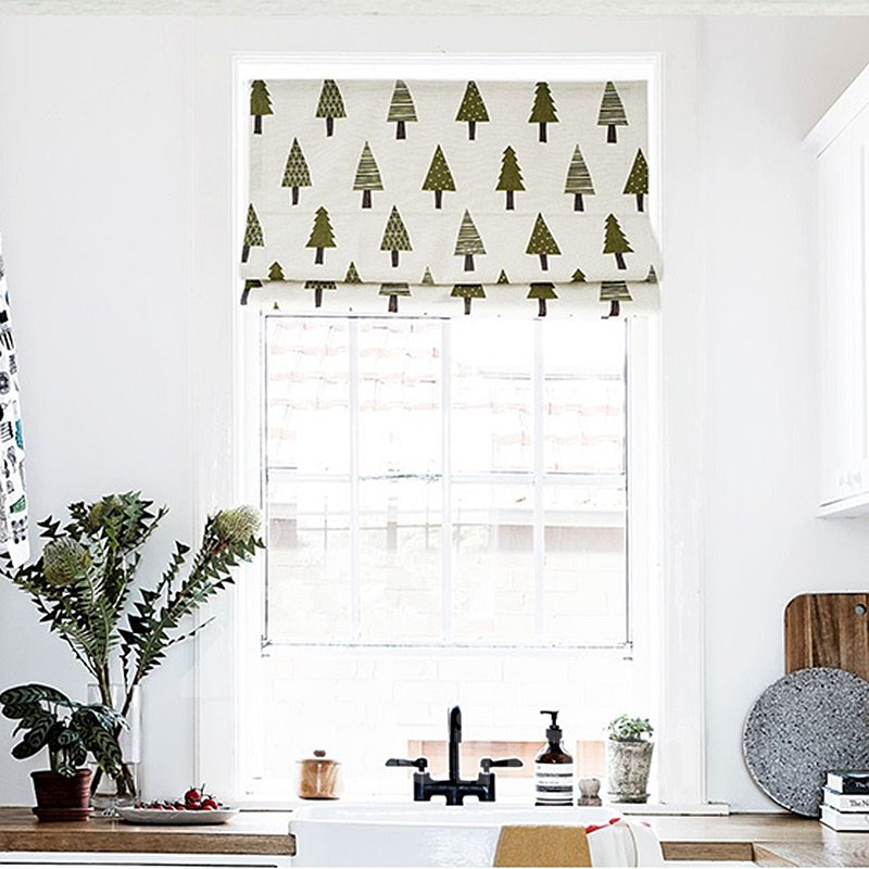 Cute Hand Painted Tree Printing Flat-Shaped Roman Shades