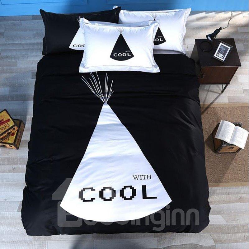 Unique Black and White Cool Print 4-Piece Cotton Duvet Cover Sets