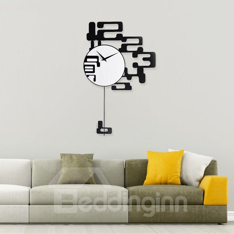 Creative Modern Design Black Numbers Decoration Mute Battery Wall Clock