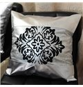 Noble Damask Pattern PU Leather Throw Pillow Case