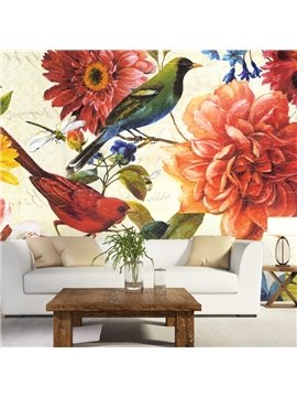 Charming Country Style Flowers and Birds Pattern Home Decorative Waterproof 3D Wall Murals