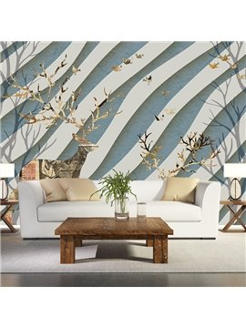 White and Blue Deer and Bird Strip Background Waterproof 3D Wall Murals