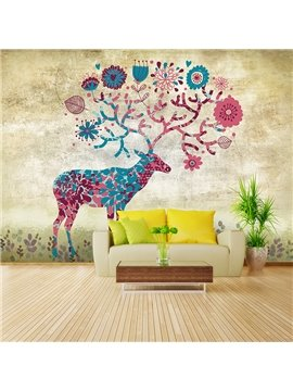 Colorful Sika Deer Pattern Design Waterproof Home Decorative 3D Wall Murals