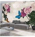 Gorgeous Beautiful Flowers and Butterflies Pattern Waterproof 3D Wall Murals