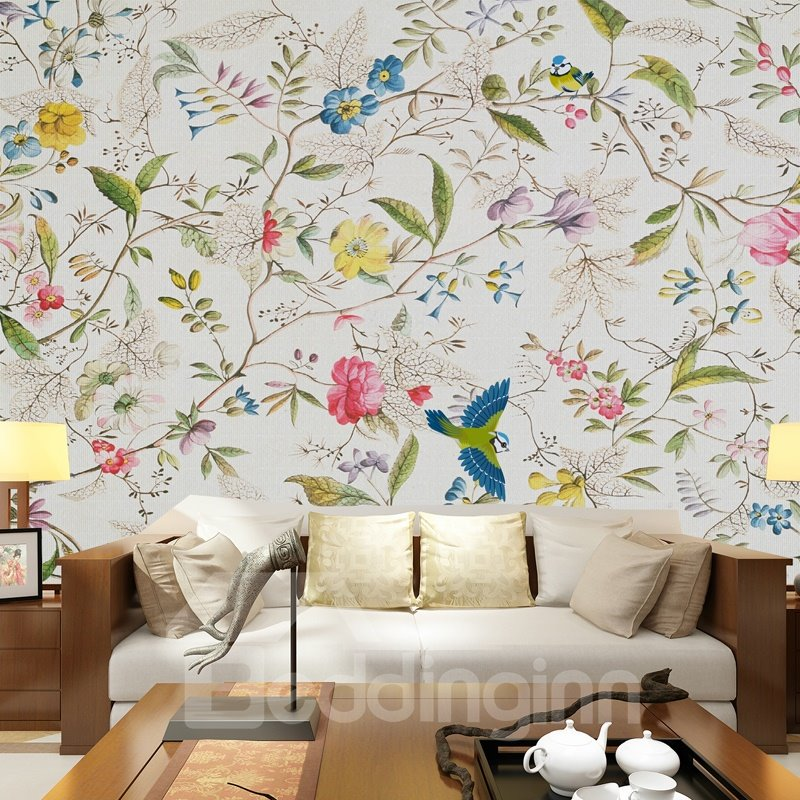 Attractive Tree Branches and Flowers Pattern Waterproof 3D Wall Murals