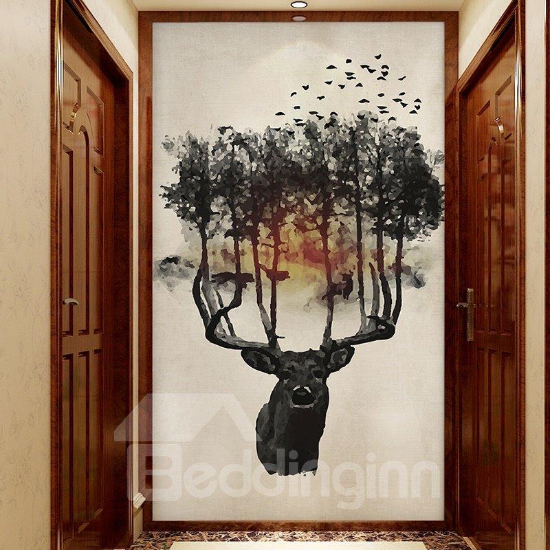 Creative Black Tree on the Deer Head Pattern Decorative Waterproof 3D Wall Murals