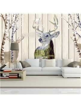 European Style Plank and Deer Pattern Design Waterproof 3D Wall Murals