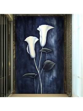 Decorative White Common Callalily Pattern Waterproof 3D Wall Murals