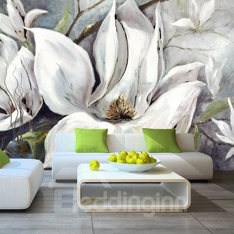 White Flowers Pattern Elegant Style PVC Waterproof and Durable 3D Wall Murals