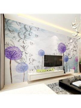 White Butterflies and Purple Dandelion Pattern Waterproof 3D Wall Murals