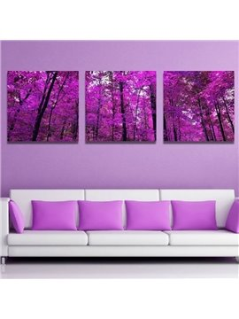 Purple Tree Pattern 3 Pieces Non Framed Ready to Hang Wall Art Prints