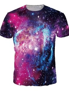 Bright Round Neck Purple Galaxy Pattern 3D Painted T-Shirt