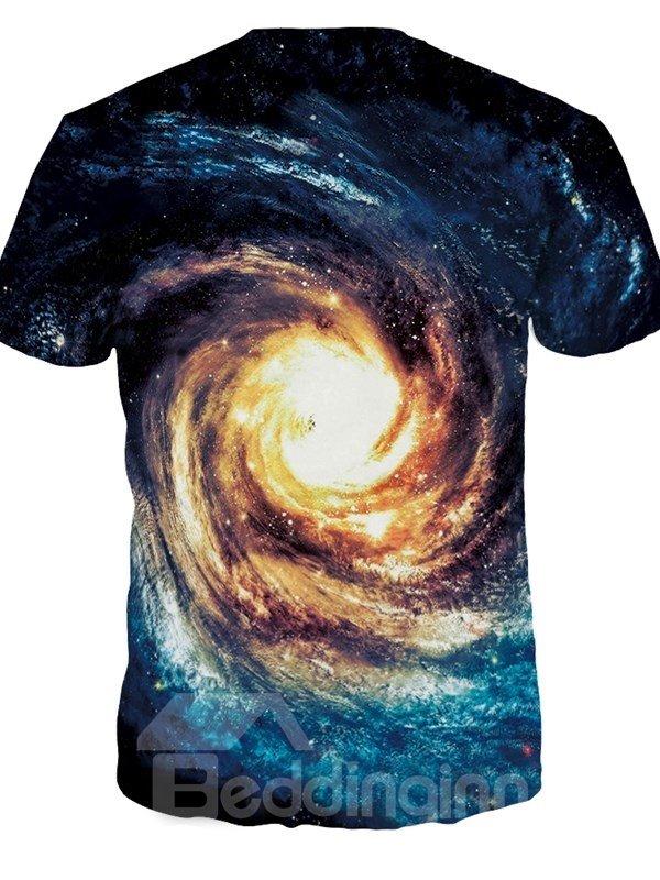 Special Round Neck Vortex Galaxy Pattern 3D Painted T-Shirt