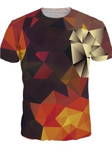 Popular Round Neck Geometry Pattern 3D Painted T-Shirt