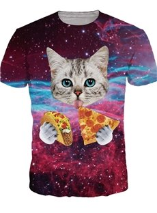 Lovely Round Neck Cat Eat Pizza Pattern 3D Painted T-Shirt