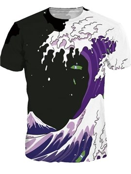 Cool Round Neck Wave Pattern Black Background 3D Painted T-Shirt