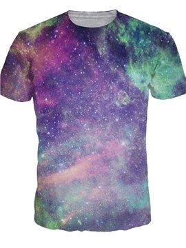 Fashion Round Neck Purple Galaxy Pattern 3D Painted T-Shirt