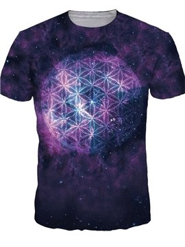 Popular Round Neck Purple Galaxy Pattern 3D Painted T-Shirt