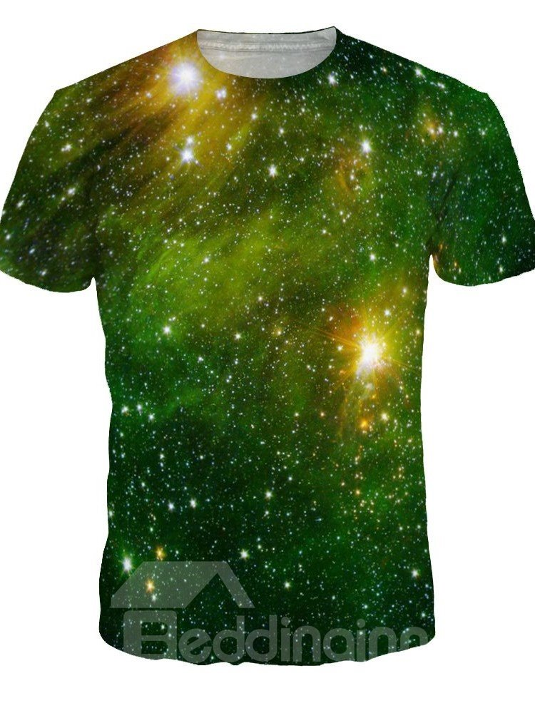 Shining Round Neck Green Galaxy Pattern 3D Painted T-Shirt