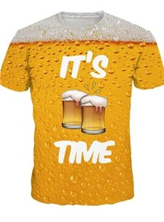 Bright Round Neck Beer Time Pattern 3D Painted T-Shirt