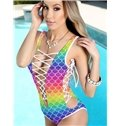 Bright Lace Up Scaly Rainbow Pattern One-piece 3D Painted Swimwear