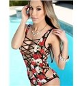 Super Cool Lace Up Skull and Flowers Pattern One-piece 3D Painted Swimwear