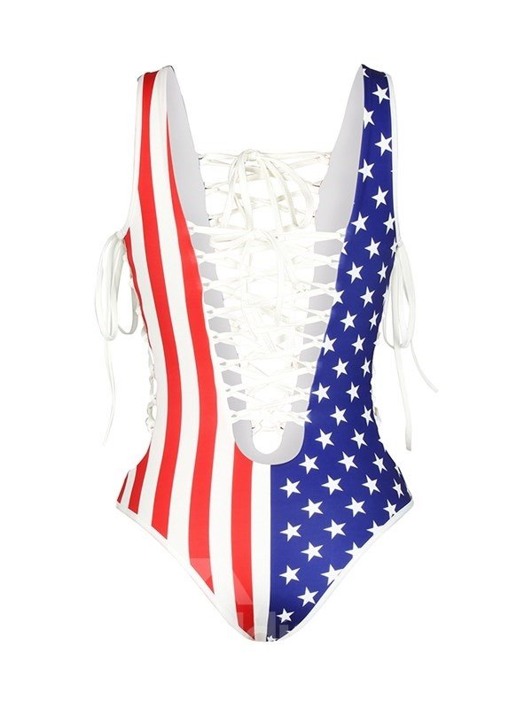 c791776385c Sexy Lace Up America Flag Pattern One-piece 3D Painted Swimwear ...