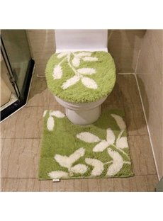 Leaf Painted 3-Pieces Cotton Toilet Seat Cover Sets