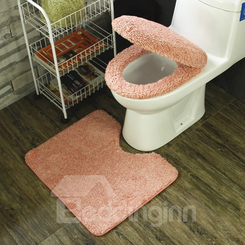 Cute Pink 3-Pieces Plush Toilet Seat Cover Sets - beddinginn.com