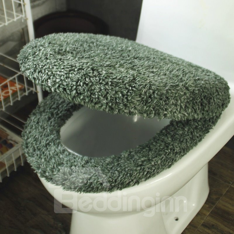 Dark Green 3 Pieces Plush Toilet Seat Cover Sets