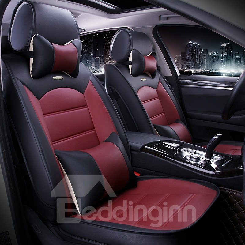 Luxurious Textured Design Popular Contrast Color PU Leatherette Material Universal Five Car Seat Cover