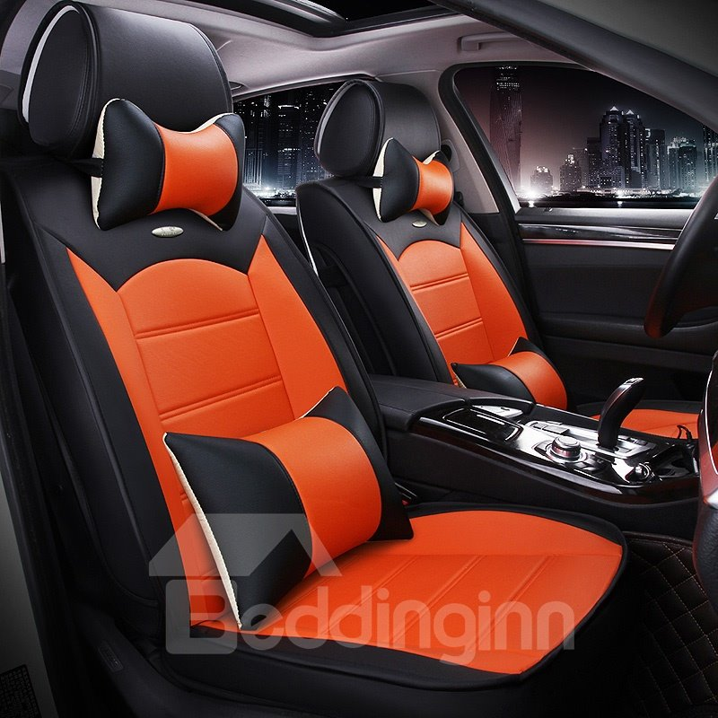 Luxurious Textured Design Contrast Color Leather Material Universal Car Seat Cover