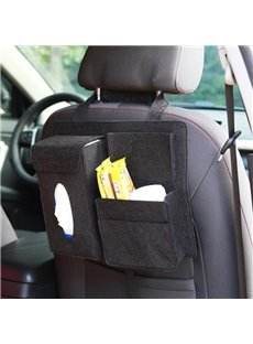 Durable Soft Felt Material Multiple Pockets Black Car Backseat Organizer