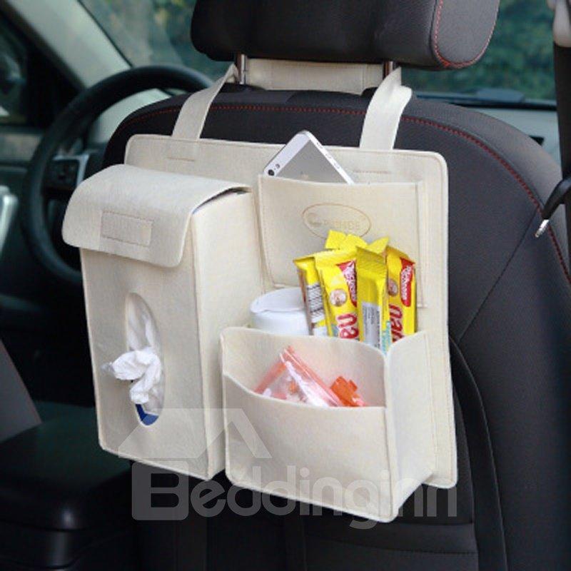 Durable Soft Felt Material Multiple Pockets Beige White Car Backseat Organizer
