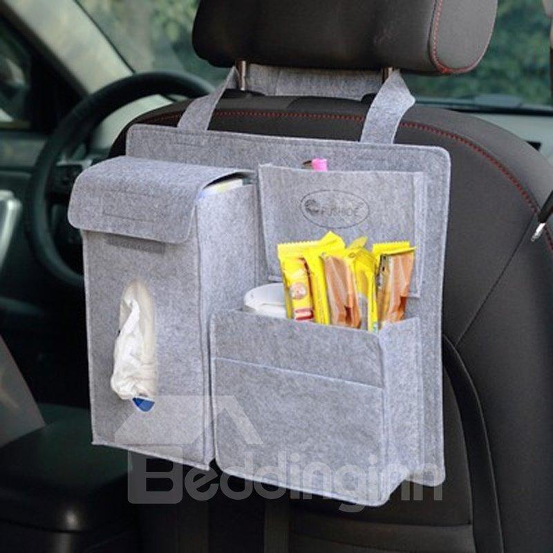 Durable Soft Felt Material Multiple Pockets Light Gray Car Backseat Organizer