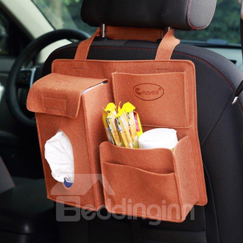 Durable Soft Felt Material Multiple Pockets Brown Car Backseat Organizer