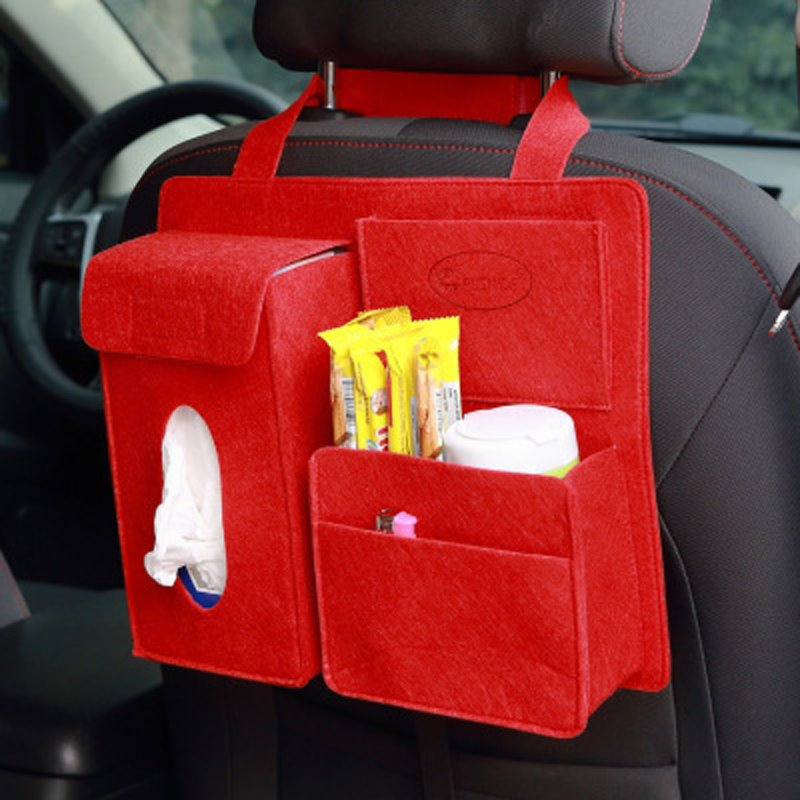 Durable Soft Felt Material Multiple Pockets Red Car Backseat Organizer