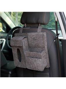 Durable Soft Felt Material Multiple Pockets Gray Car Backseat Organizer