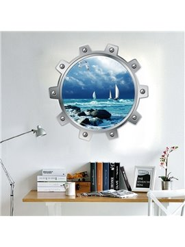 Blue Beautiful Sea Scenery Pattern Design Living Room or Bathroom Decoration 3D Wall Stickers
