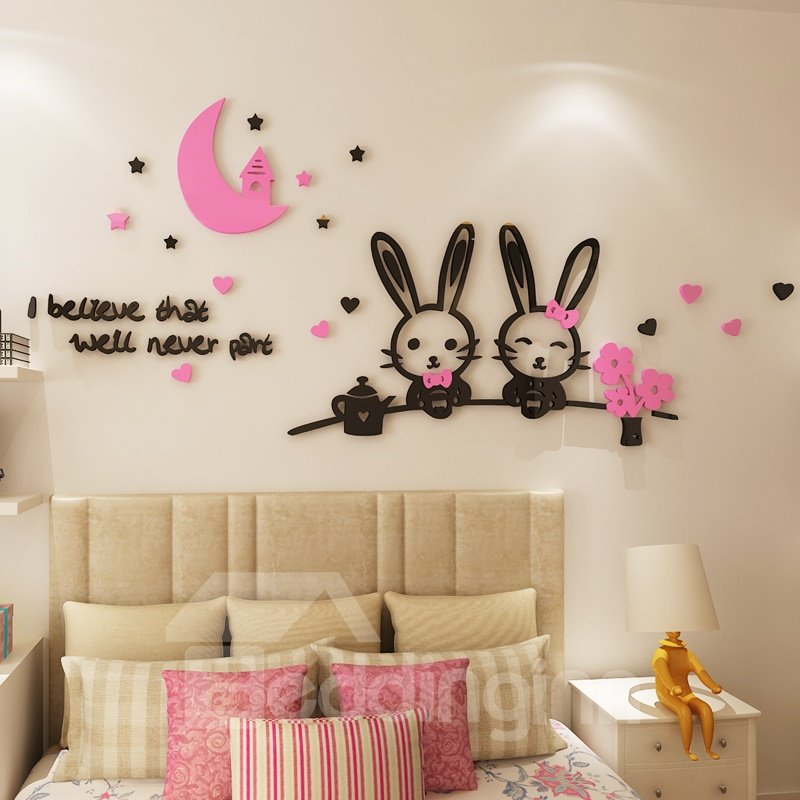 Lovely Cute Rabbits Pattern Design Acrylic Modern Style 3D Wall Stickers