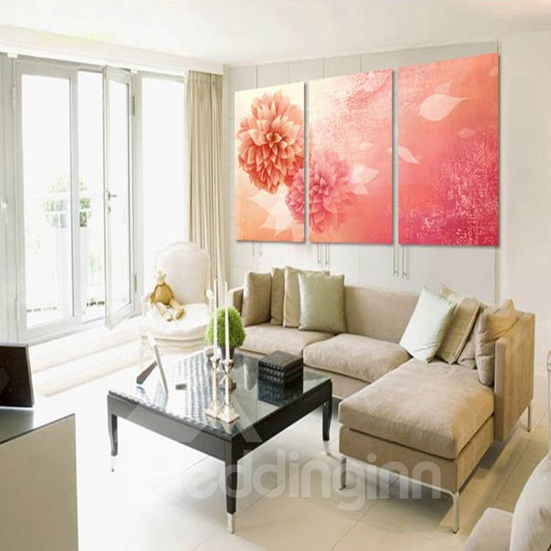 Warm Pink Flowers Pattern Decorative Framed 3 Panels Wall Art Prints