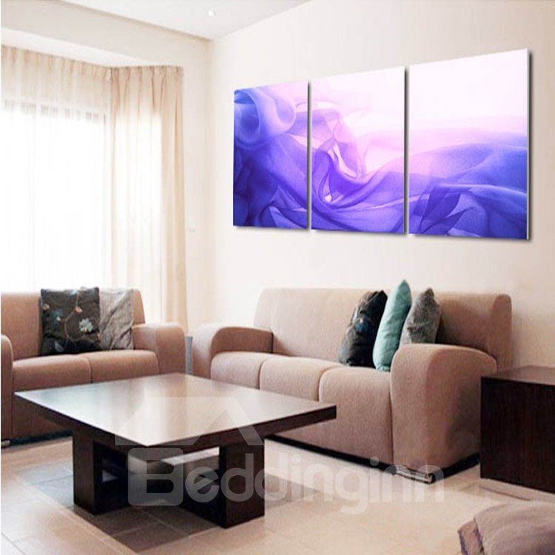 Purple Abstract Design 3 Panels Cross Ready to Hang Framed Wall Art Prints