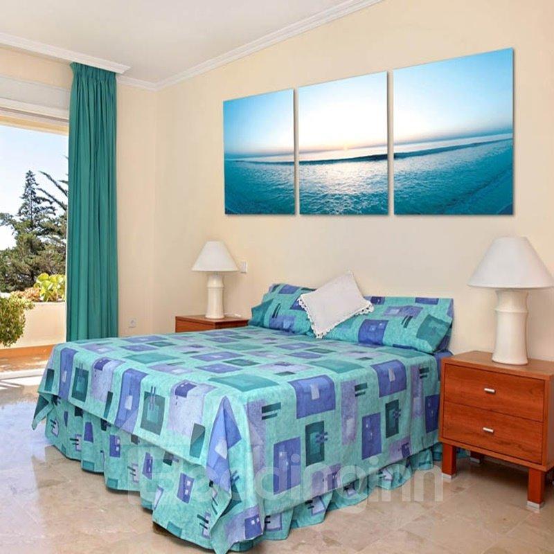 Natural Sunset Sea Scenery Pattern 3 Panels Cross Framed Wall Art Prints