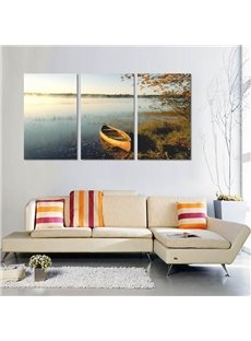 Wonderful Boat in Seaside Scenery Pattern 3 Panels Cross Framed Wall Art Prints