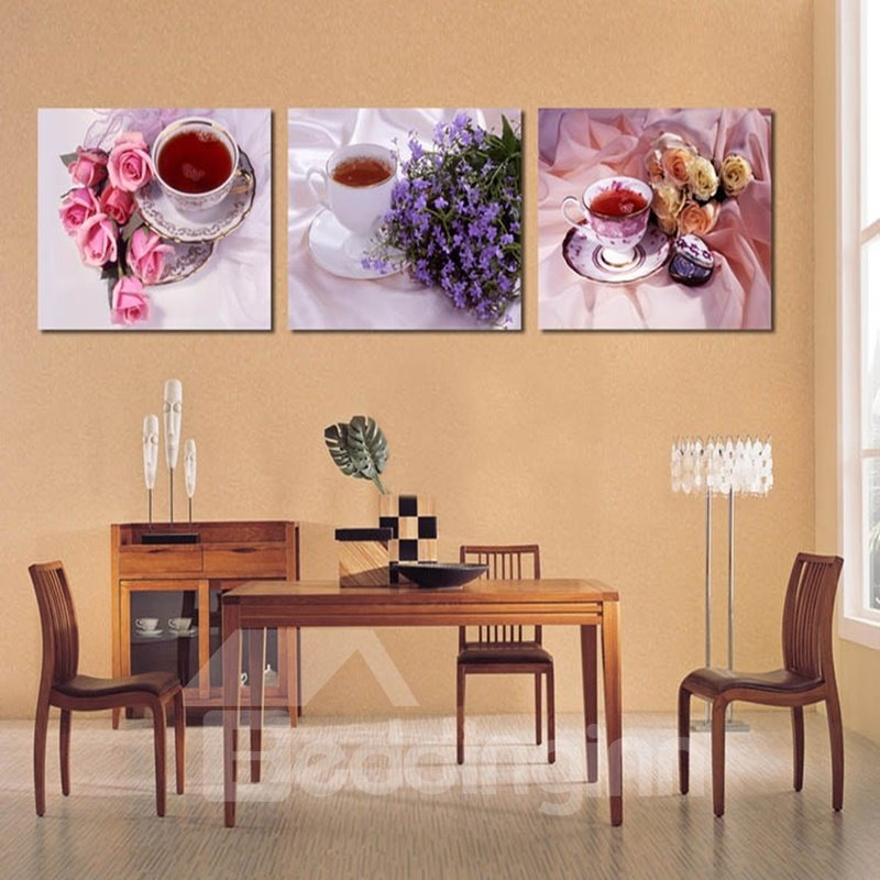 Flowers and Tea Pattern Hanging 3-Piece Canvas Waterproof and Eco-friendly Framed Prints