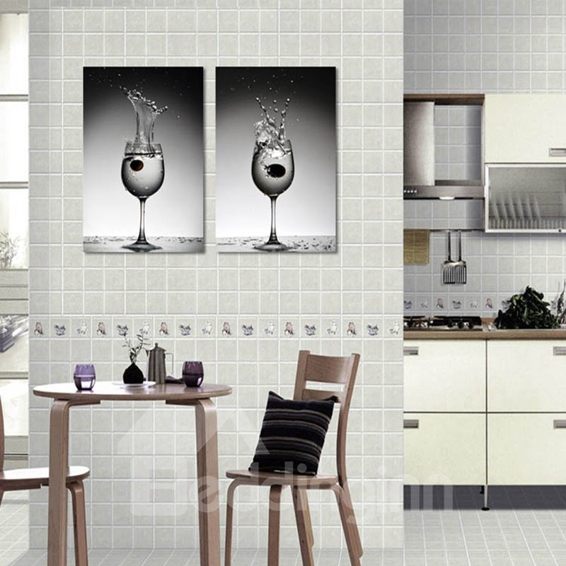 Black Wine Glasses Pattern Hanging 2-Piece Canvas Waterproof and Eco-friendly Framed Prints