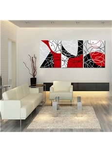 Lines 3-Panel Fabric Red and Black Framed Wall Prints